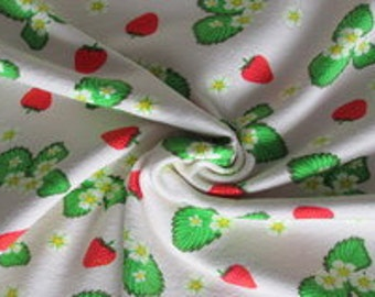 Jersey fabric strawberries, article 7742