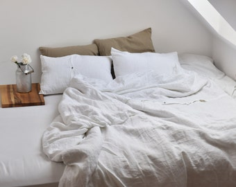 WILD SILK bedding, washed wild silk in white and off white color, Duvet Cover