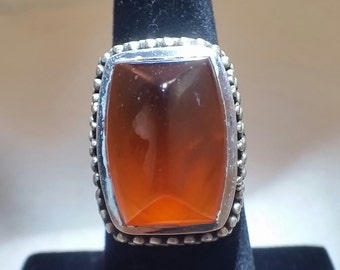 Hessonite garnet ring in sterling silver - free shipping - turningleafjewelryco - January birthstone - garnet ring - one of a kind ring