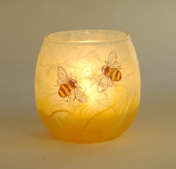 Bee Candle Holder Small Lovely Gift Decorated Strawsilk