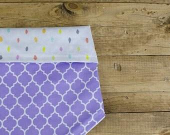 CONFETTI- Vibrant, Pastel, Polka Dots, Multi color, Purple, Aqua, Dog Bandanna, Birthday, Pet Accessory, Reversible, Tie On Dog Bandana