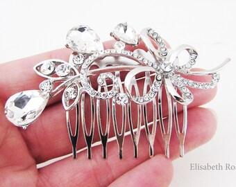 Small Crystal Wedding Hair Comb, Crystal Hair Jewellery for Wedding, Decorative Crystal Hair Comb, Wedding Hair Jewellery, Small Silver Comb