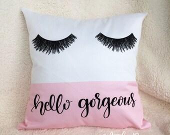 Eyelashes Pillow, Decorative Pillow, Pillow Case, Throw Pillows, Home Decor, Modern Home Decor, Chic Decor, Eyelashes print, hello gorgeous