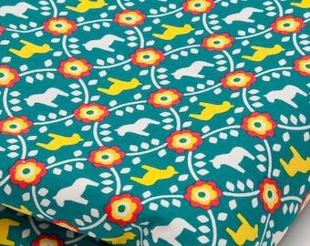 Cotton Linen Fabric Scandinavian Blue Green Dala Horse per Half Meter