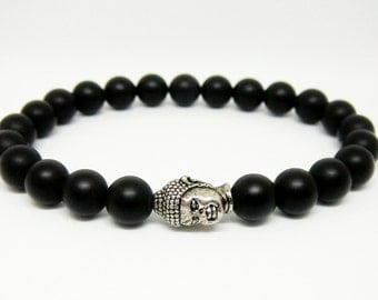 Buddha bracelet for mens Buddah Black bracelet Black onyx bracelet  Yoga jewelry Yoga gift for men beaded bracelet for men stretch bracelet