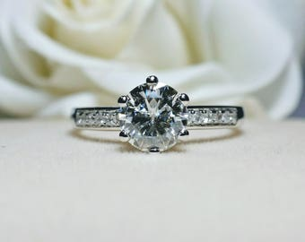 1 carat Forever One Moissanite Engagement ring  with natural diamonds in 18k white gold