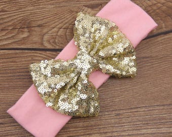 Hair Accessories, Headband, Sequins Headband, Pink Hair Bow, Sequins Bow, Baby Girl Gift, New Baby Gift, Modern Hair Bow, Turban