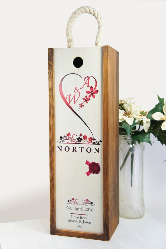 Personalized Wedding Wine Box Ceremony custom rustic wooden wood Wine ...