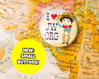 Cowboy I Love JW.org button,jw kids, jehovah witness buttons,jw convention gifts,jw ministry accessories, jw.org badges, pin back buttons jw