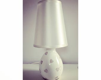 Hand decorated grey hearts lamp