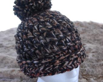 Black Highlighted Crochet Hat
