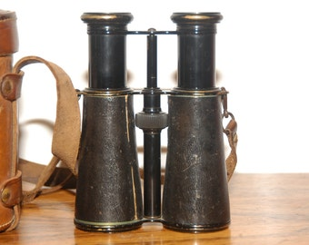 Rangefinder binoculars of LEMAIRE FABI Paris about 1910 with leather bag