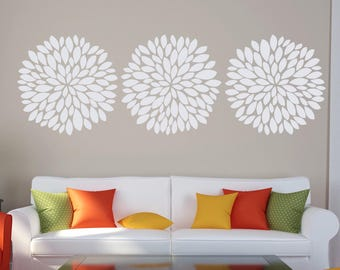 Wall Flower Decal - Vinyl Flower Decal - Dahlia Wall Decal - Bloom Decal - Nursery Wall Decal - Flower Bloom Decal - Girls Wall Vinyl Decal