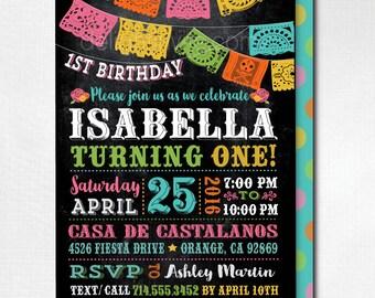 Papel Picado Paper Flags Fiesta Birthday Invitation, Mexican Fiesta  Invitations, Printed Fiesta Paper Flags