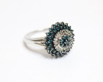 0.50ctw Blue Diamond and White Diamond Ring Size 6 925 Sterling Silver
