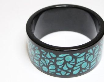 Turquoise Inlay Ceramic Cuff Bracelet