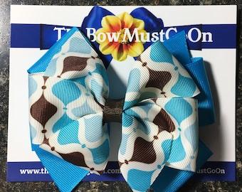 Turquois and Brown Bow/Pinwheel Hairbows/Bright Blue Bows/Blue and Brown Bows/Bright Blue Bows