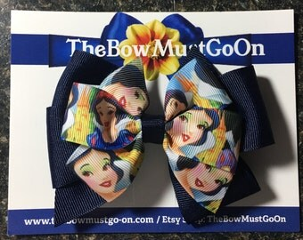 Snow White Bow/Snow White Bows/Disney Inspired Bows/Navy Blue Bows/Princess Bow/Princess Bows/Snow White inspired Bow/ Disney inspired bows