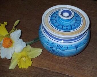 Blue sugar bowl // to sugar bowl // hand-made // ceramic jar // Decoration(Set) // Idea of present //