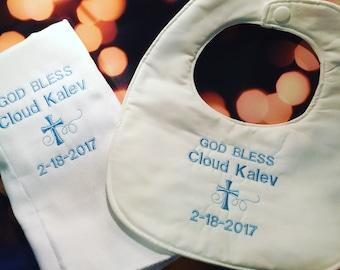 Baptism bib and burp cloth set, christening bib set, baby boy christening bib set, embroidered bib set, christening gift