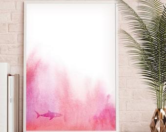 Shark Printable, Shark Wall Art, Pastel Pink Wall Art, Marine Wall Art, Beach Watercolor Art, Coastal Decor Ideas, Coastal Wall Art, Coastal