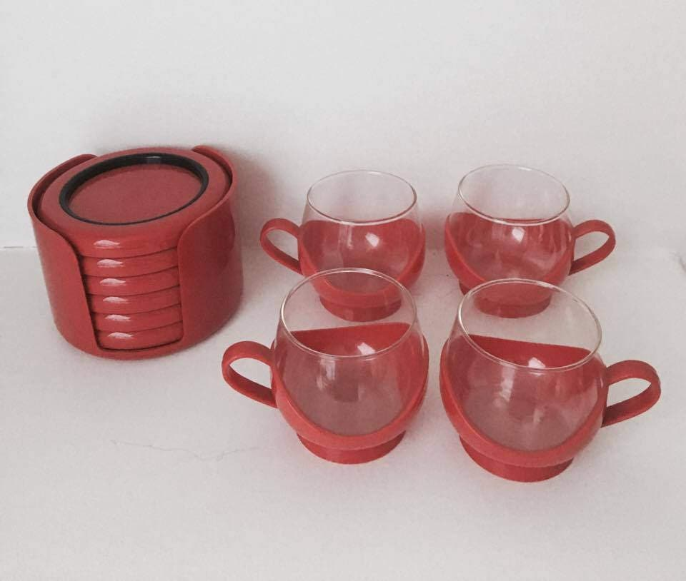 melitta red cups set 4 cups red cups 70s 6 scaroni. Black Bedroom Furniture Sets. Home Design Ideas