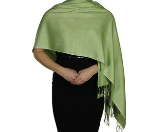 Sage Green Ladies Pashmina Scarf Wrap Shawl Stole - Tassel Finishing - Handmade