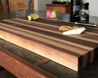 Walnut Maple Reclaimed wood Cutting Board, long grain