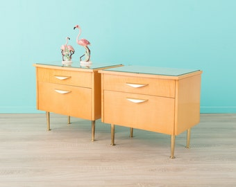 2 x 60's night table, chest of drawers, 60s, vintage (511018)