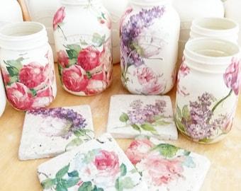 Vintage style Lilac & Rose mason jar and natural stone coasters