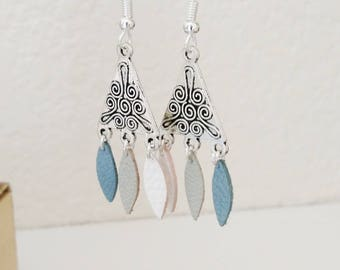 Steel blue and White Leather petals and ethnic triangle earrings