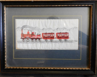 antique miniature embroidery of red train on silk, framed,glazed