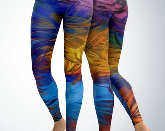 Leggings / Yoga Pants / Yoga Capri - Paint Brush Stokes Artwork Leggings