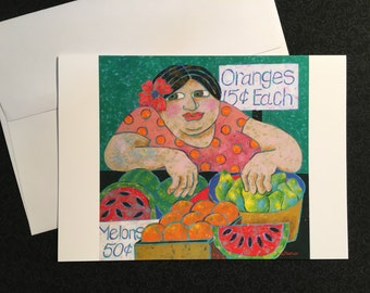 Fruit For Sale greeting card, blank note card