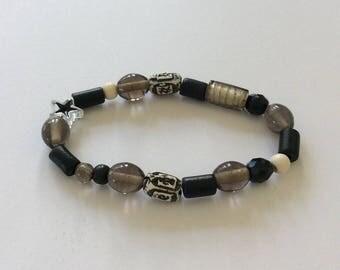 Black beaded bracelet / beaded bracelet  /beaded jewellery /  beaded gift