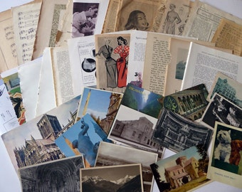 Vintage ephemera paper pack, book pages, postcards, scrapbooking, mixed media