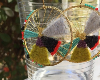 SLICE of the PIE: asymmetrical hand-woven fiber statement earrings