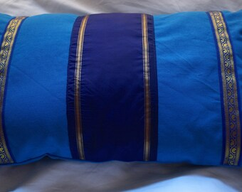 Series Jodhpur 3: cushion, 30x50cm (12 x 20), blue, sari silky vintage, blue cotton, blue embroidered Indian trim.