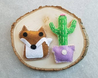Felt Cactus Fox Magnet Set