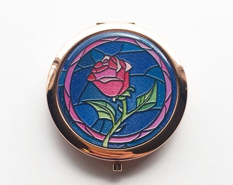 Beauty and the Beast Stained Glass Rose Compact