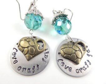 Hand stamped craft fair earrings