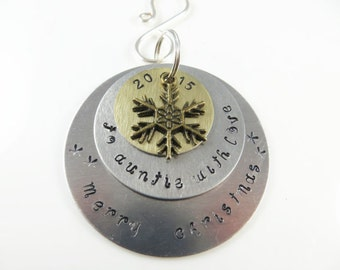 Hand stamped auntie christmas ornamen----Sample - will custom make -