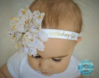 Birthday Headband, Gold Headband, Baby Girl Headband, Baby Hair Bow, White and Gold Headband