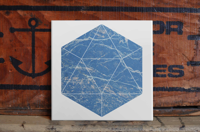 Geometric Marble Ceramic Tile Coaster Set Artwork Trivet Hot Plate ...