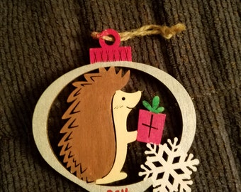 Wooden hedgehog Christmas ornament