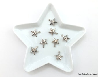 8x silver star charms