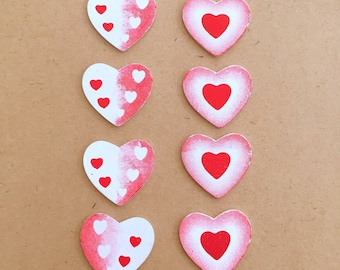 8x Wood Heart Cabochons Red & White