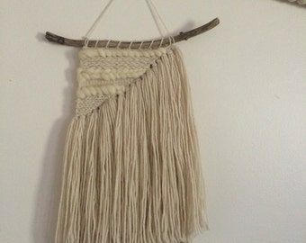 Off White Hand Woven Wall Hanging/Weaving- lots of texture !