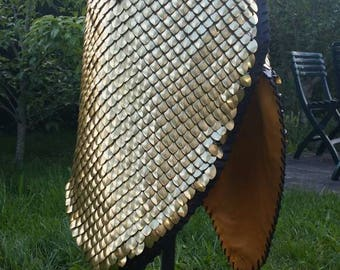 Scales aluminium lined leather skirt