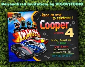 Hot Wheels Invitation-Hot Wheels Birthday-Hot Wheels Printable-Hot Wheels Chalkboard-Hot Wheels Party-Hot Wheels- Boys Birthday-Cars party